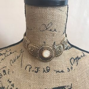 New York & Company Gold Choker with Jewel